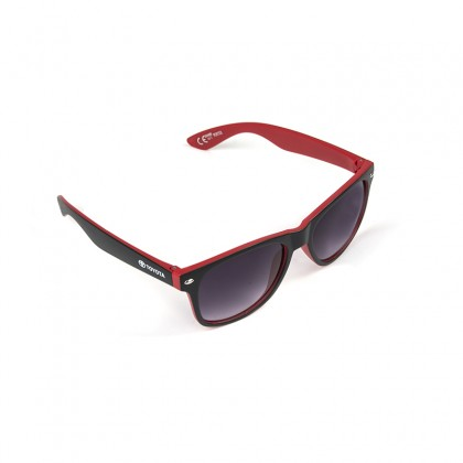 Unisex zwarte en rode matte zonnebril