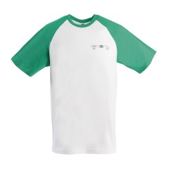 Olympisch T-shirt voor mannen met mouwen in groene contrastkleur